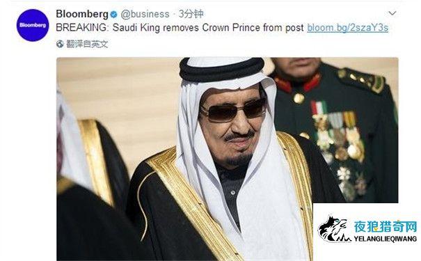 沙特国王任命儿子为新王储